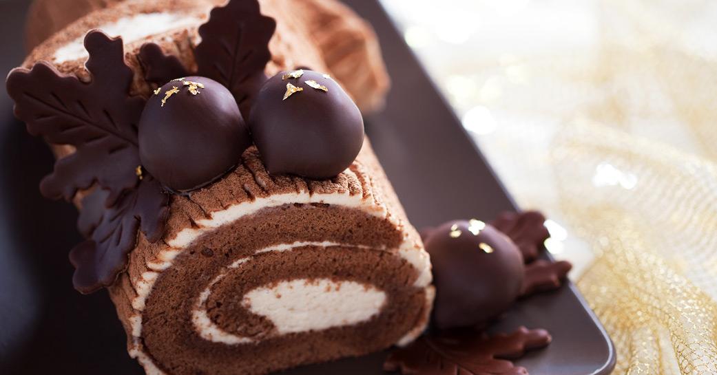 Bûche de Noël aux deux chocolats. Sans gluten.